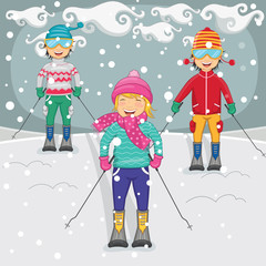 Vector Illustration Of Children Skiing