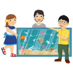 Kids Watching Fishes in An Aquarium Vector