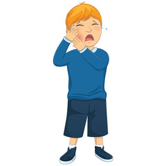 Isolated Kid Tooth Pain Vector Illustration