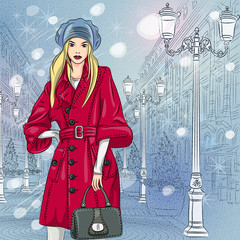 Vector beautiful fashionable girl on the Christmas Cityscape