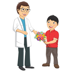 Vector Illustration Of Kid Giving Flower To Teacher