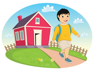 Little Boy Leaving Home Vector Illustration