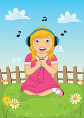 Little Girl Listening Music Vector Illustration