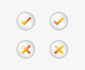 buttons with accepted and rejected text
