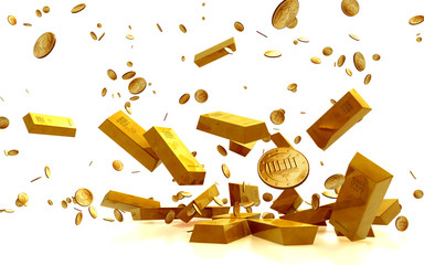 Golden Bars, golden Coins. Business Financial Concept