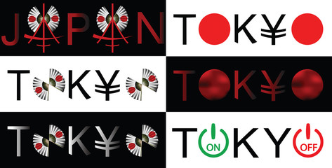 Japan and Tokyo design words illustration