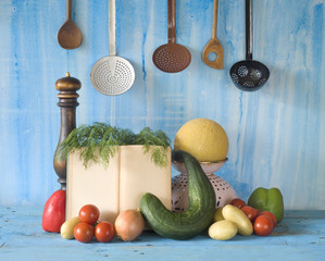 cookbook, vegetables,old kichen utensils, free copy space