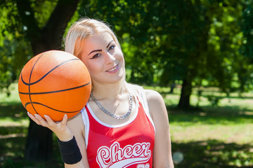 attractive young female basketball player