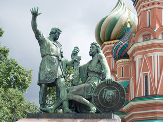 Dmitry Pozharsky and Kuzma Minin monument .Russia.Moscow.