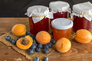 Apricose, blueberry and strawbery jam