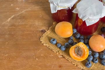 Apricose, blueberry and strawbery jam