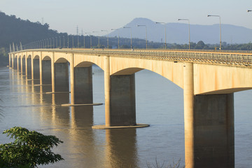 loas-japan bridge crossing Mekong river in Champasak southern of