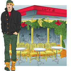Vector stylish guy in jeans, jacket, boots, cap on the backgroun