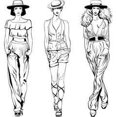 Vector set fashion top models in trouser suits and hats
