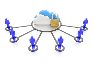 Stylized CG depicting clouds and a padlock, secure data storage.