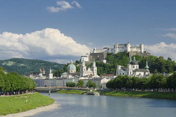 Salzburg City Historic Center Panorama View