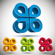 3d abstract icon with 4 petals.