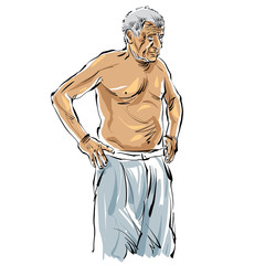Hand drawn old man illustration on white background, grey-haired