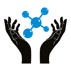 Hands with molecule vector symbol.