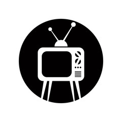 Retro tv set vector icon.