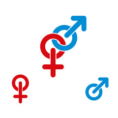 Male and female symbols combination vector icon isolated.