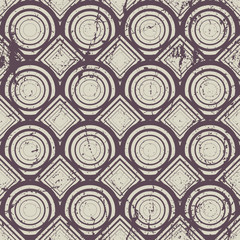 Vintage geometric seamless pattern, old vector repeat background