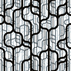 Trendy lines and shapes seamless pattern.