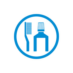 Tooth brush and paste vector icon isolated.