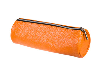 orange pencil case isolated on white background