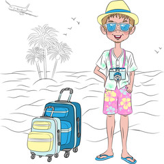 Vector hipster traveler guy on the sea beach