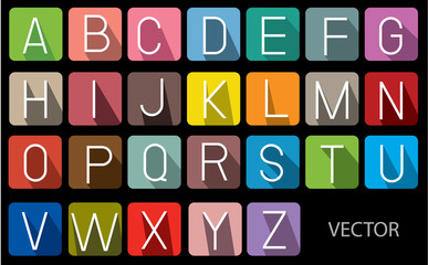 icons font colorful with long shadow.vector