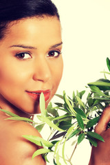 Woman with olive leafs.