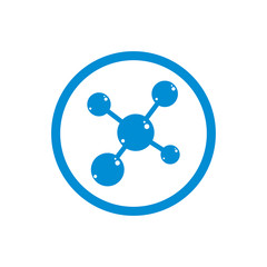 Molecule icon, single color vector symbol.