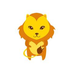 Flat vector cartoon illustration of cute lion posing