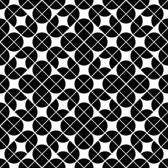Black and white geometric abstract seamless pattern, vector cont