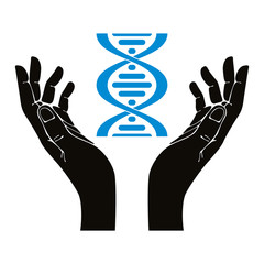 Hands holding DNA strand vector symbol.