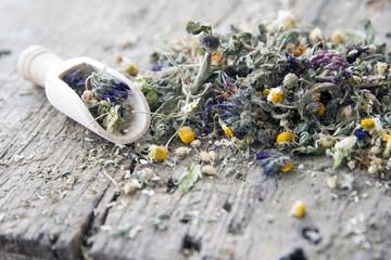 Getrocknete Blüten und Kräuter