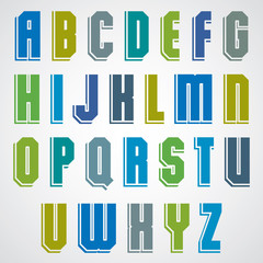 Colorful decorative font, geometric uppercase letters with white