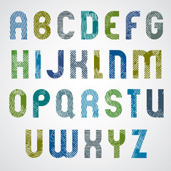 Grunge colorful rubbed upper case letters, decorative font on wh