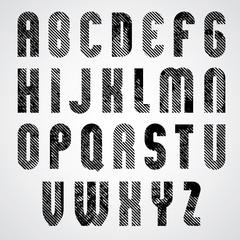 Grunge black grated upper case letters, mystique font on white b