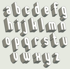 Bold and heavy 3d letters set, dimensional vector font.