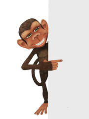 Funny 3d cartoon  monkey with a blan, isolated on the white back