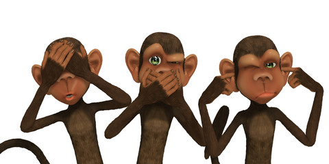 3d cartoon monkeys: isolation concept