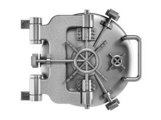 Vaulted metal bank door