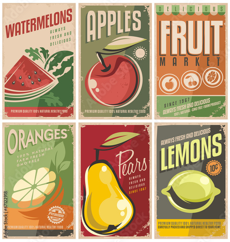 Papiers peints Cuisine Collection of retro fruit poster designs