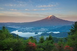Mt Fuji and lake kawaguchiko in summer season