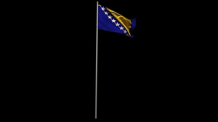 Bosnian national flag waving on flagpole