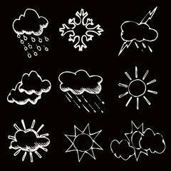 clouds, sun, weather, vector