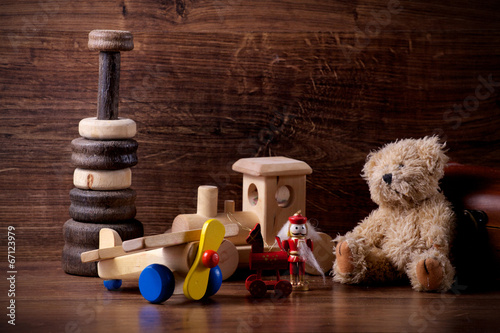 collection of old wood children toys with teddy bear - 67123979