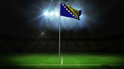 Bosnia national flag waving on flagpole